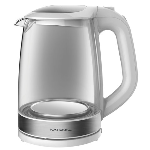 Чайник NATIONAL NK-KE20307, 2 л, 2200 Вт, закрытый нагревательный элемент, стекло, белый