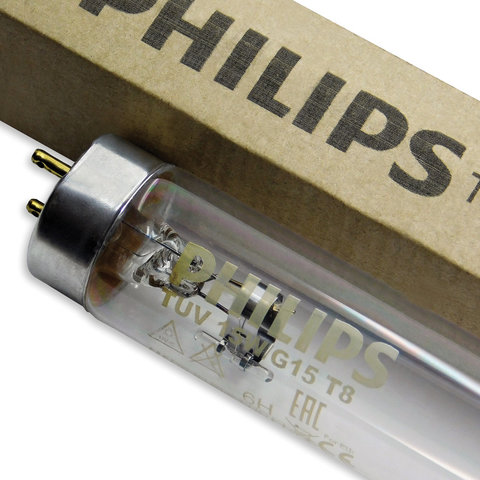 Лампа БАКТЕРИЦИДНАЯ ультрафиолетовая PHILIPS TUV, 15 Вт, G13, прозрачная колба-трубка, 45 см