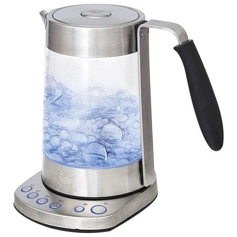 Чайник KITFORT КТ-601, 1,7 л, 2500 Вт, закрытый нагревательный элемент, 4 режима нагрева, стекло, серебистый, KT-601