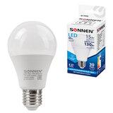 Лампа светодиодная SONNEN, 15 (130) Вт, цоколь Е27, груша, нейтральный белый, 30000 ч, LED A65-15W-4000-E27, 454920