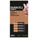 Батарейки КОМПЛЕКТ 4 шт. (отрывной блок), DURACELL Simply, ААА (LR03, 24А), алкалиновые, мизинчиковые, 5009140