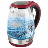 Чайник SCARLETT SC-EK27G49, 1,8 л, 2200 Вт, закрытый нагревательный элемент, стекло, красный