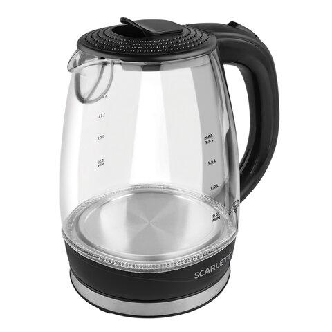 Чайник SCARLETT SC-EK27G53, 1,7 л, 2200 Вт, закрытый нагревательный элемент, стекло, черный