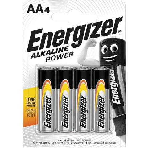 Батарейки КОМПЛЕКТ 4 шт., ENERGIZER Alkaline Power, AA (LR06, 15А), алкалиновые, пальчиковые, блистер, E300132908
