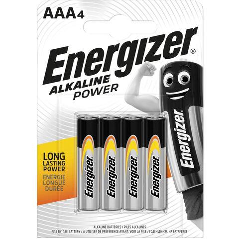 Батарейки КОМПЛЕКТ 4 шт., ENERGIZER Alkaline Power, AAA (LR03, 24А), алкалиновые, мизинчиковые, блистер, E300132611