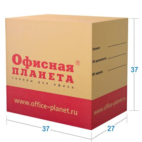 Гофроящик ОФИСНАЯ ПЛАНЕТА малый, длина 370 х ширина 270 х высота 370 мм, марка Т22, профиль В, 500372