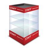 Витрина настольная для выкладки калькуляторов STAFF, стеклянная, 80х40х40 см, 3 полки, освещенная