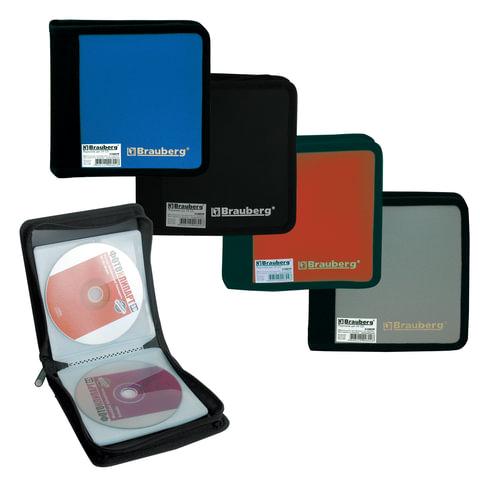 Портмоне для CD/DVD BRAUBERG (БРАУБЕРГ) на 24 диска, обложка пластиковая, ассорти, 510029