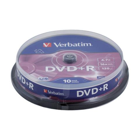 Диск DVD+R (плюс) VERBATIM, 4,7 Gb, 16x, 10 шт., Cake Box, 43498