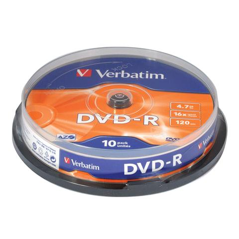 Диски DVD-R (минус)  VERBATIM 4,7Gb 16x 10шт Cake Box 43523 (ш/к-5235)