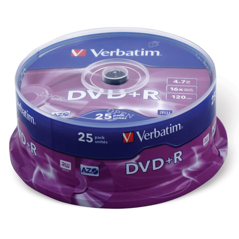 Диски DVD+R (плюс) VERBATIM 4,7 Gb 16x, КОМПЛЕКТ 25 шт., Cake Box, 43500