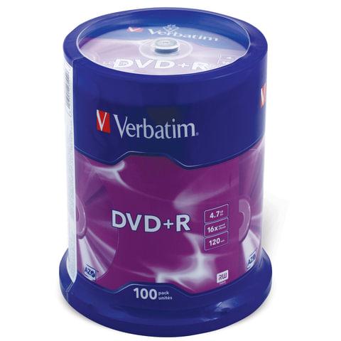 Диск DVD+R (плюс) VERBATIM, 4,7 Gb, 16x, 100 шт., Cake Box, 43551