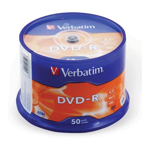 Диск DVD-R (минус) VERBATIM, 4,7 Gb, 16x, 50 шт., Cake Box, 43548