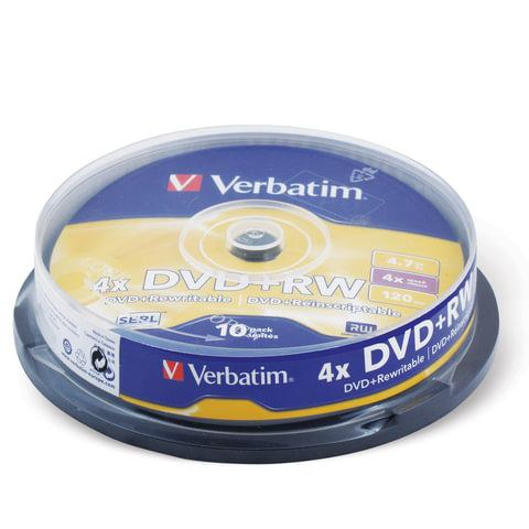 Диски DVD+RW (плюс)  VERBATIM 4,7Gb 4x 10шт Cake Box 43488 (ш/к - 4887)