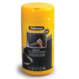 Чистящие салфетки FELLOWES, в тубе, 100 шт., влажные, для экранов мониторов и оптических поверхностей, FS-99703