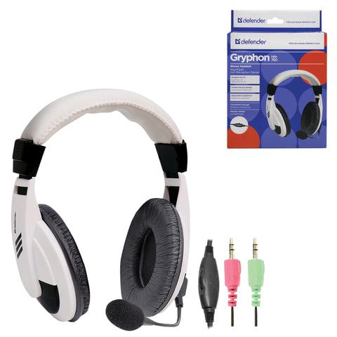 Наушники с микрофоном (гарнитура) DEFENDER Gryphon HN-750, проводная, 2 м, белая, 63747