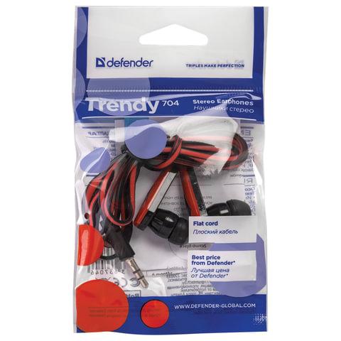 Наушники DEFENDER Trendy 704, проводные, 1,1 м, вкладыши, черные с красным, 63704