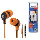 Наушники с микрофоном (гарнитура) DEFENDER Pulse 450, проводная, 1,2 м, вкладыши, для Android, оранжевая, 63450