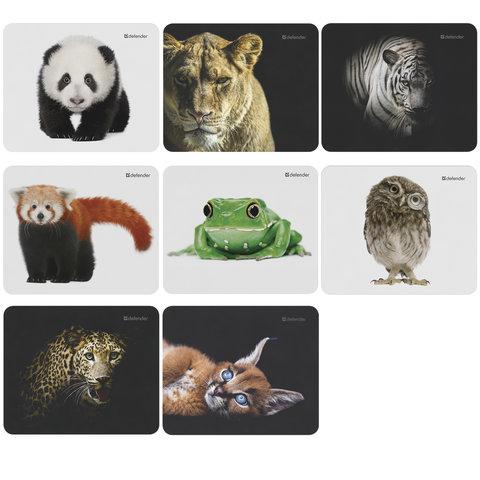 Коврик для мыши DEFENDER Wild Animals, резина+джерси, 220x180x2 мм, 8 видов, 50803
