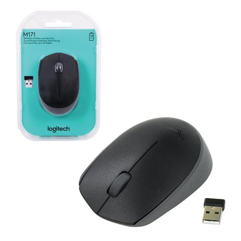 Мышь беспроводная LOGITECH M171, 2 кнопки + 1 колесо-кнопка, оптическая, черная, 910-004424