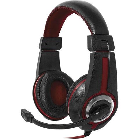 Наушники с микрофоном (гарнитура) DEFENDER Warhead G-185, проводные, 2 м, стерео, чёрно-красные, 64106