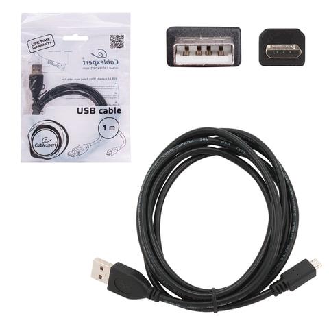 Кабель USB-micro USB, 1 м, CABLEXPERT, для подключения портативных устройств и периферии, CCP-mUSB2-AMBM1