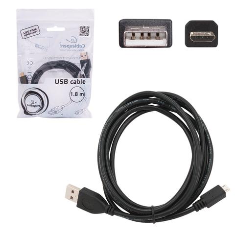 Кабель USB-micro USB, 2.0, 1,8 м, CABLEXPERT, для подключения портативных устройств и периферии, CCP-mUSB2AMBM-6