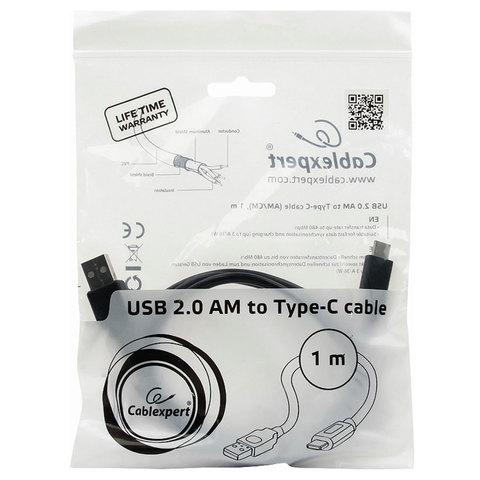 Кабель Type-C-USB 2.0, 1 м, CABLEXPERT, для подключения портативных устройств и периферии, CCP-USB2-AMCM-1M, CCP-USB2AMCM-1М