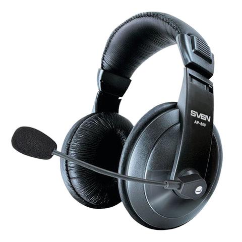 Наушники с микрофоном (гарнитура) SVEN AP-860MV, проводные, 2 м, с оголовьем, черные, SV-0410860