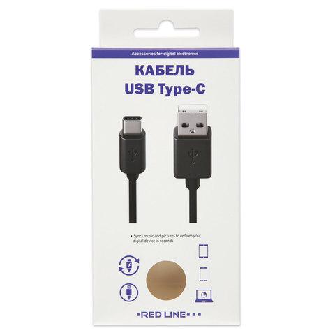 Кабель USB 2.0 AM-TypeC, 1 м, RED LINE, для подключения портативных устройств и периферии, черный, УТ000010553