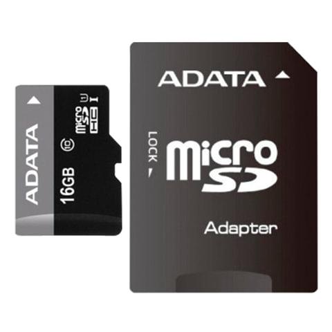 Карта памяти micro SDHC, 16 GB, A-DATA Premier, 50 Мб/сек. (class 10), с адаптером, AUSDH16GUICL10