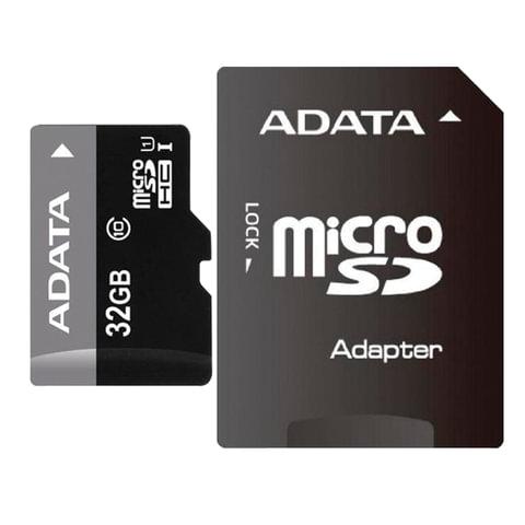 Карта памяти micro SDHC, 32 GB, A-DATA Premier, 50 Мб/сек. (class 10), с адаптером, AUSDH32GUICL10