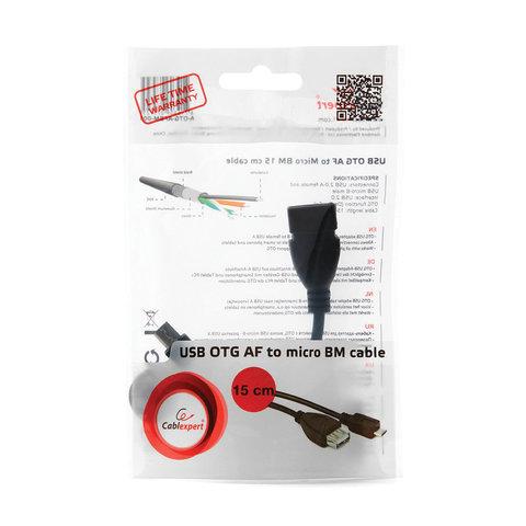 Кабель-переходник USB-microUSB, 0,15 м, AM-BM CABLEXPERT, для портативных устройств и периферии, A-OTG-AFBM-001