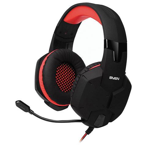 Наушники с микрофоном (гарнитура) SVEN AP-G988MV, проводные, 1,2 м, с оголовьем, черно-красные, SV-014797