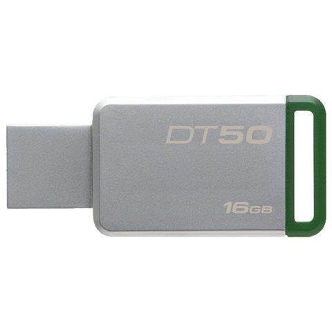 Флэш-диск 16 GB KINGSTON DataTraveler 50 USB 3.0, металлический корпус, серебристый/зеленый, DT50/16GB