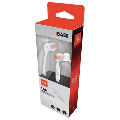 Наушники с микрофоном (гарнитура) JBL T110 WHT, проводные, 1,2 м, вкладыши, стерео, белые, T110WHT