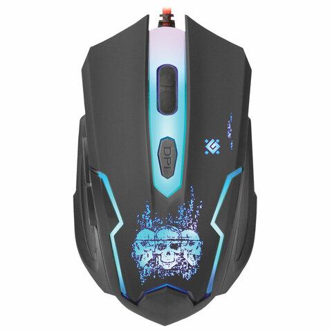 Мышь проводная игровая DEFENDER Skull GM-180L, USB, 5 кнопок + 1 колесо-кнопка, оптическая, черная, 52180