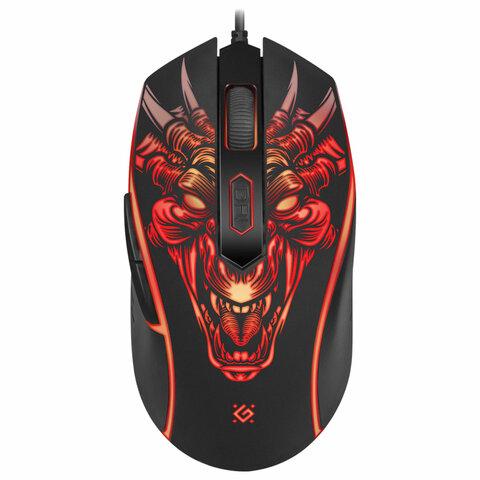 Мышь проводная игровая DEFENDER Monstro GM-510L, USB, 5 кнопок + 1 колесо-кнопка, оптическая, черная, 52510