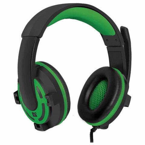 Наушники с микрофоном (гарнитура) DEFENDER Warhead G-300,проводные, 2,5 м, с оголовьем, черные с зеленым, 64128