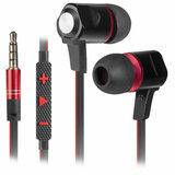 Наушники с микрофоном (гарнитура) вкладыши DEFENDER Lance, проводные, 1,2 м, вкладыши, черные с красным, 64450