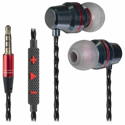 Наушники с микрофоном (гарнитура) вкладыши DEFENDER Tanto, проводные, 1,2 м, вкладыши, черные с серым, 64451