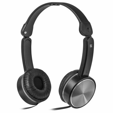 Наушники с микрофоном (гарнитура) DEFENDER Accord 145, проводные, 1,2 м, с оголовьем, черные, 63145
