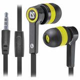 Наушники с микрофоном (гарнитура) вкладыши DEFENDER Pulse 420, проводные, 1,2 м, вкладыши, черные с желтым, 63421