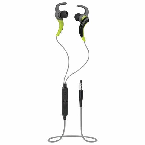 Наушники с микрофоном (гарнитура) вкладыши DEFENDER OutFit W765, проводные, 1,5 м, серые с желтым, 63765