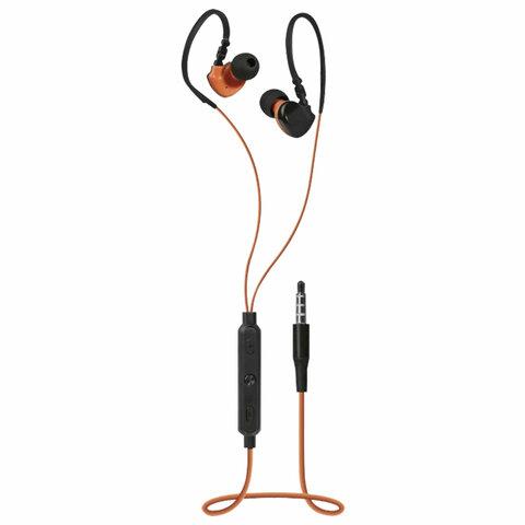 Наушники с микрофоном (гарнитура) вкладыши DEFENDER OutFit W770, проводные, 1,5 м, черные с оранжевым, 63772