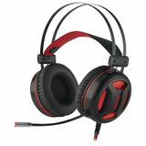 Наушники с микрофоном (гарнитура) REDRAGON Minos, проводные, 2 м, полноразмерные с оголовьем, черные с красным, 78368