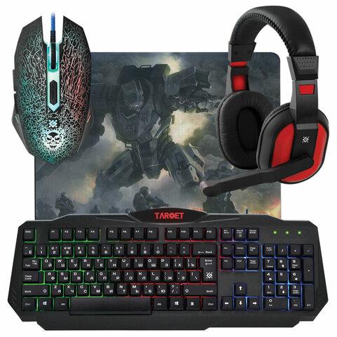 Набор проводной игровой DEFENDER Target MKP-350, USB, клавиатура, мышь 5 кнопок+1 колесо-кнопка, гарнитура, коврик, 52350