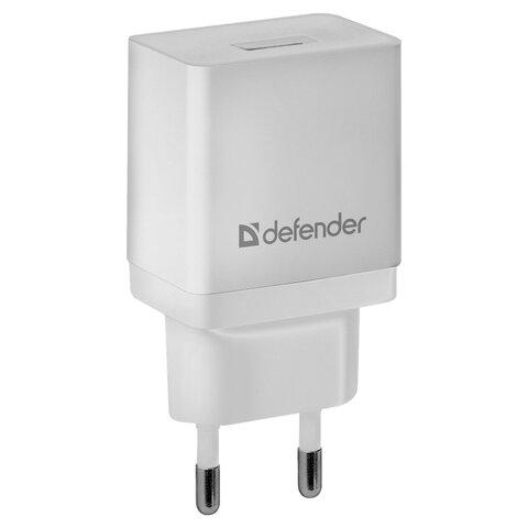 Зарядное устройство сетевое (220 В) DEFENDER EPA-10, 1 порт USB, выходной ток 2,1 А, белое, 83549