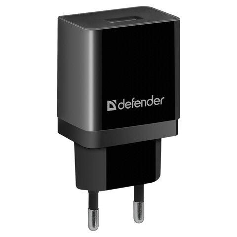 Зарядное устройство сетевое (220 В) DEFENDER EPA-10, 1 порт USB, выходной ток 2,1 А, черное, 83572