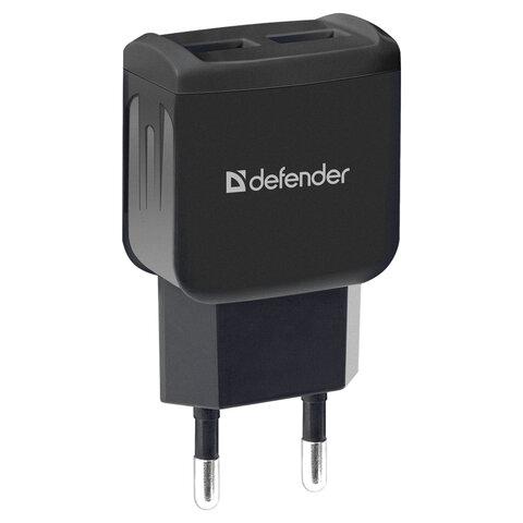 Зарядное устройство сетевое (220 В) DEFENDER UPC-23, кабель Type-C 1 м, выходной ток 2,1 А, черное, 83583